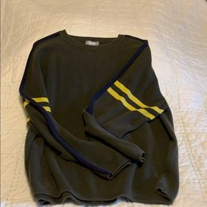 Utility army green sweater with stripes. Size M